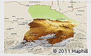 Physical Panoramic Map of Samangan, shaded relief outside
