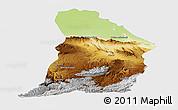 Physical Panoramic Map of Samangan, single color outside