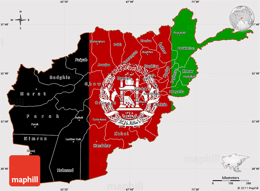 Flag Simple Map of Afghanistan