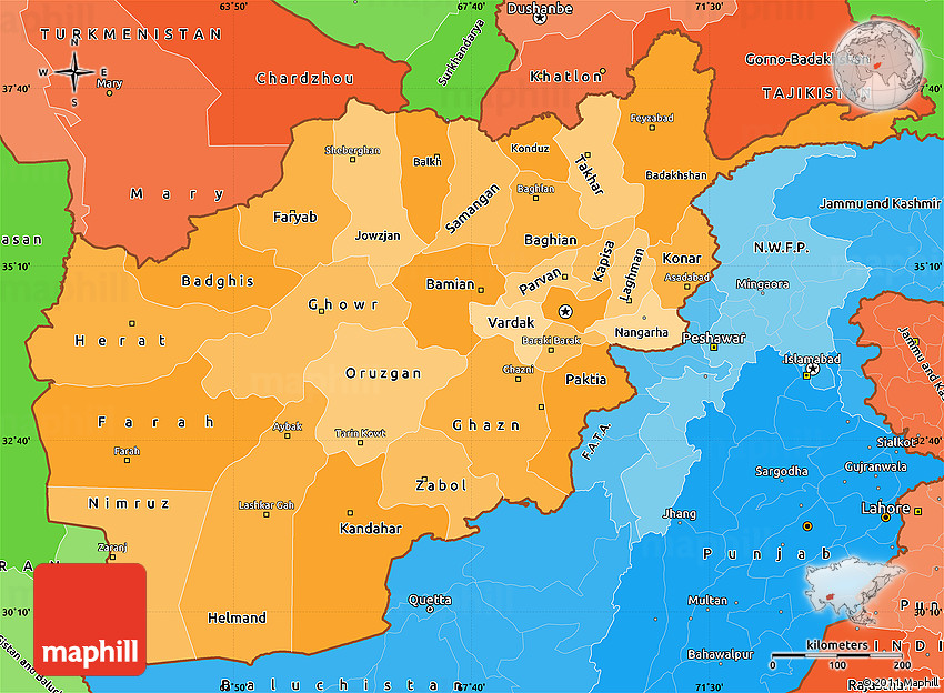 Political Shades Simple Map Of Afghanistan - Afghanistan political map