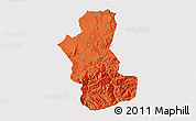 Political 3D Map of Takhar, cropped outside
