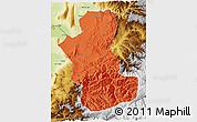 Political 3D Map of Takhar, physical outside