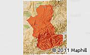 Political 3D Map of Takhar, satellite outside