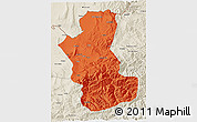 Political 3D Map of Takhar, shaded relief outside
