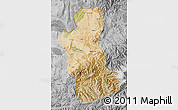 Satellite Map of Takhar, desaturated