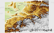 Physical Panoramic Map of Takhar