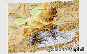 Physical Panoramic Map of Takhar, satellite outside