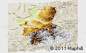Physical Panoramic Map of Takhar, shaded relief outside