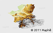 Physical Panoramic Map of Takhar, single color outside