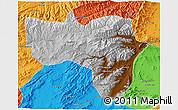 Physical 3D Map of Vardak, political outside