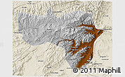 Physical 3D Map of Vardak, shaded relief outside