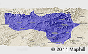 Political Panoramic Map of Vardak, shaded relief outside