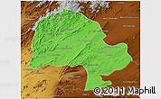 Political 3D Map of Zabol, physical outside