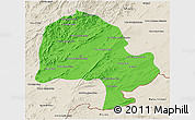 Political 3D Map of Zabol, shaded relief outside