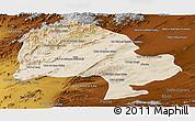 Satellite Panoramic Map of Zabol, physical outside