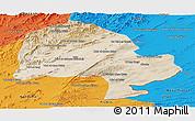 Satellite Panoramic Map of Zabol, political outside