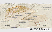 Satellite Panoramic Map of Zabol, shaded relief outside