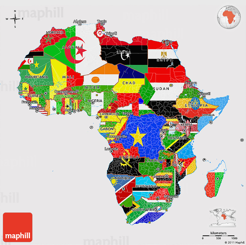 Flag 3D Map of Africa