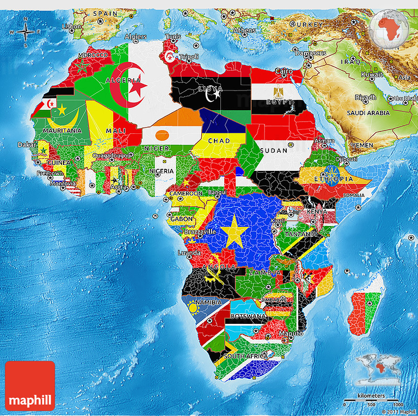 Map Of Africa With Flags.Flag 3d Map Of Africa Physical Outside