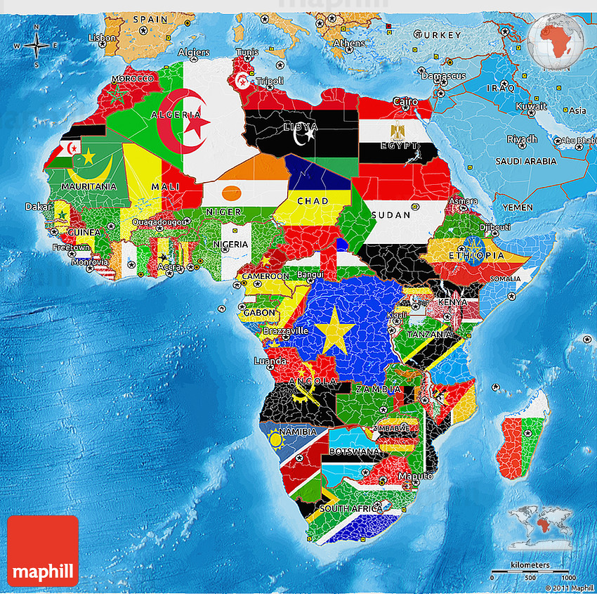 Africa Politcal Map Flag 3D Map of Africa, political shades outside