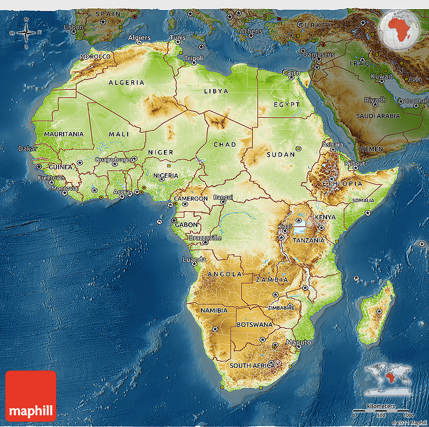 Physical 3D Map of Africa darken