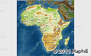 Physical 3D Map of Africa, darken