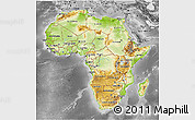 Physical 3D Map of Africa, desaturated