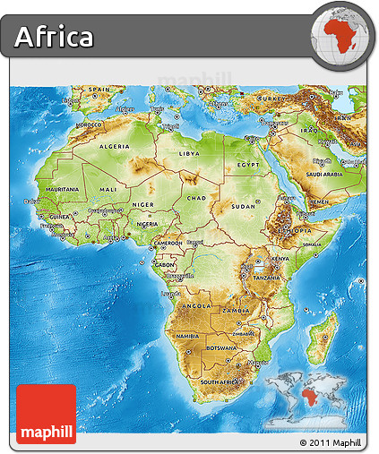 Free Map Of Africa.Free Physical 3d Map Of Africa