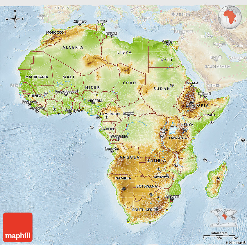 Map Of Africa 3d.Physical 3d Map Of Africa Lighten