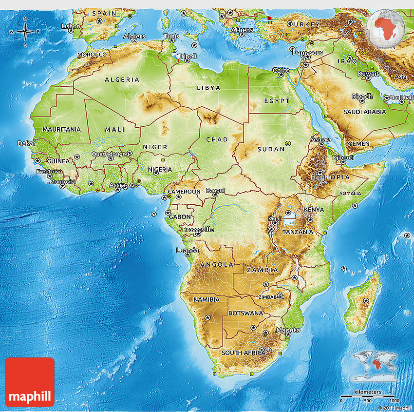 Physical 3D Map Of Africa