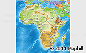 Physical 3D Map of Africa, political outside, shaded relief sea