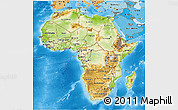Physical 3D Map of Africa, political shades outside, shaded relief sea