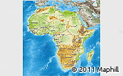 Physical 3D Map of Africa, semi-desaturated, land only