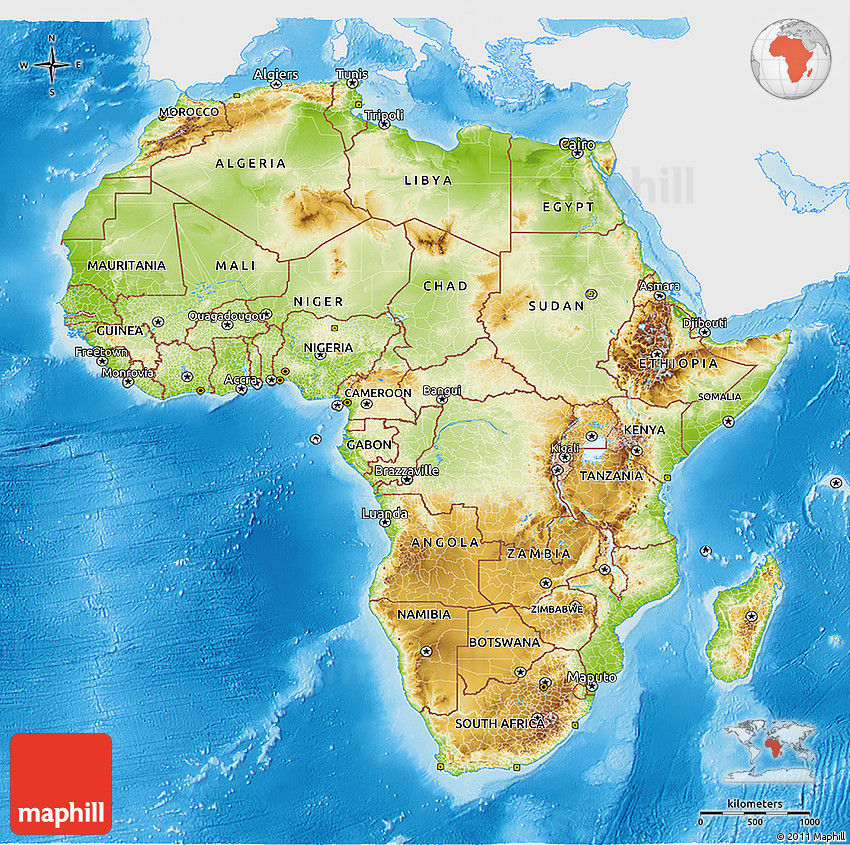 Colorful Physical Map Of Africa 66