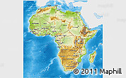 Physical 3D Map of Africa, single color outside