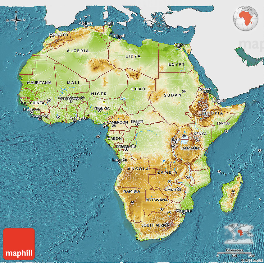 Colorful Physical Map Of Africa 100