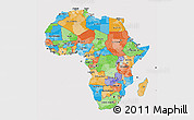 Political 3D Map of Africa, cropped outside