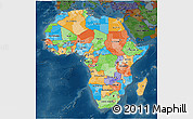 Political 3D Map of Africa, darken
