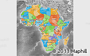 Political 3D Map of Africa, desaturated