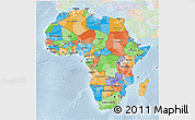 Political 3D Map of Africa, lighten