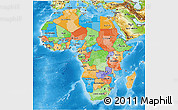 Political 3D Map of Africa, physical outside