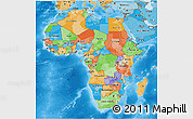 Political 3D Map of Africa, political shades outside