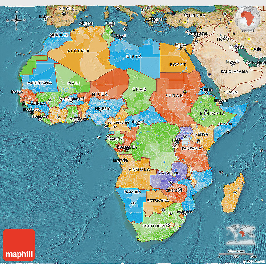 Map Of Africa 3d.Political 3d Map Of Africa Satellite Outside