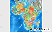 Political 3D Map of Africa, semi-desaturated, land only