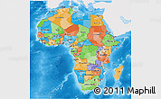 Political 3D Map of Africa, single color outside