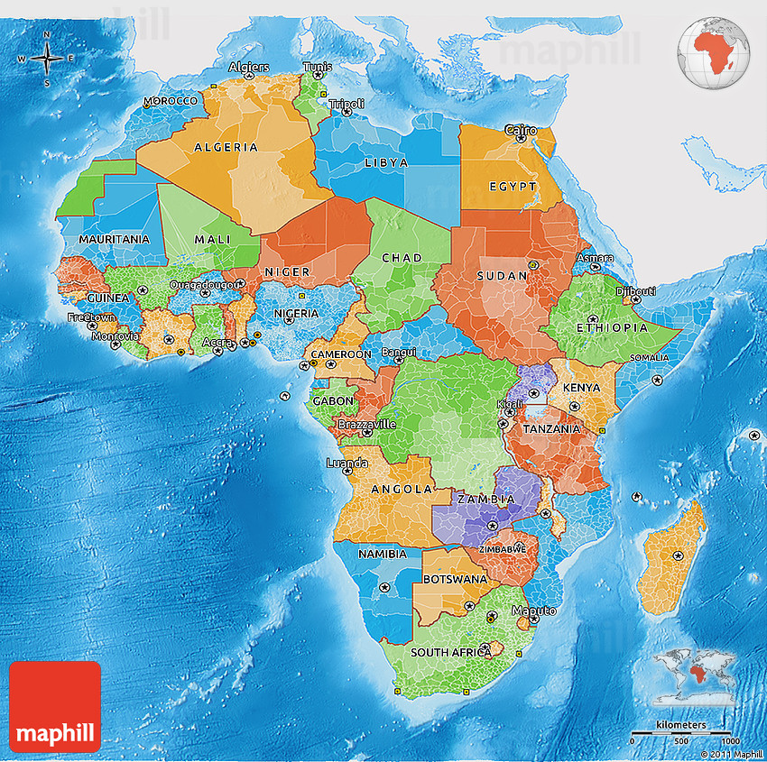 Political 3D Map of Africa, single color outside, shaded ...