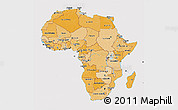 Political Shades 3D Map of Africa, cropped outside