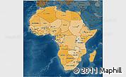 Political Shades 3D Map of Africa, darken