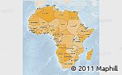 Political Shades 3D Map of Africa, lighten