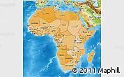 Political Shades 3D Map of Africa, physical outside